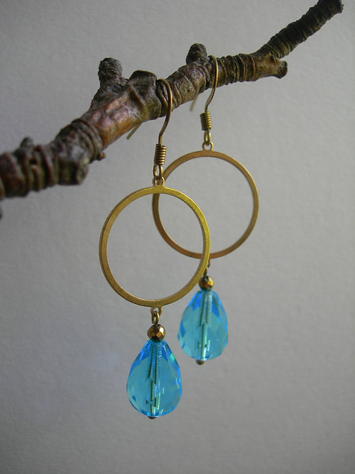 Circle with a Drop earrings. Aqua