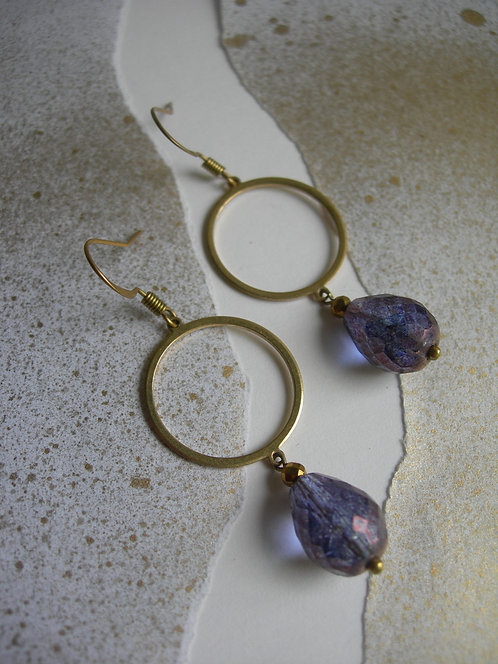 Circle with a Drop earrings.Violet