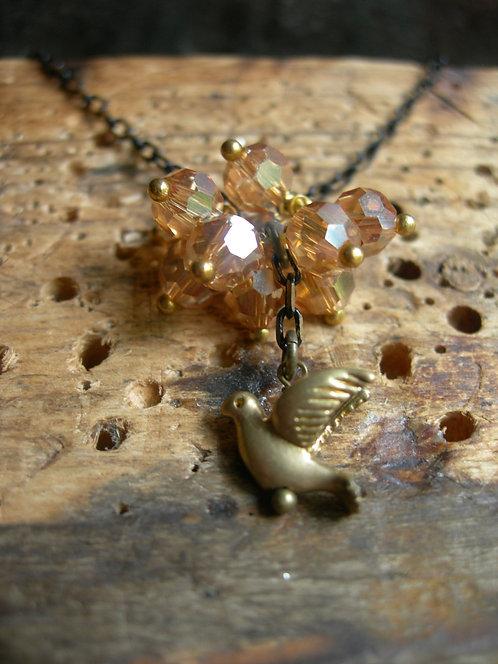 Bird and the Cloud Pendant. Orange Gold