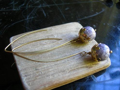 Flower Globe earings. Lilac Marble tones