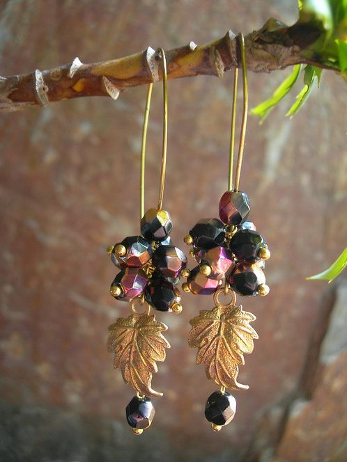 Grapes earrings. Black and Purple