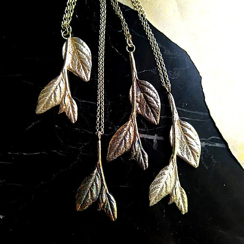 Leaves and branches sterling silver necklace