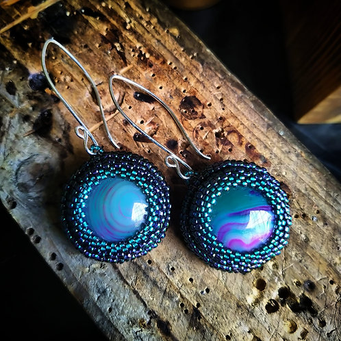 Gem Earrings. Blue and purple