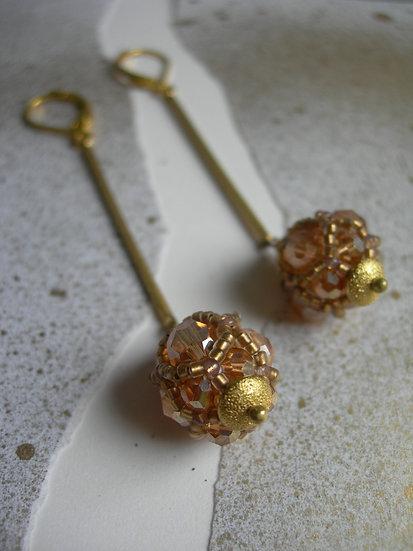 Glass lantern earrings. Champagne