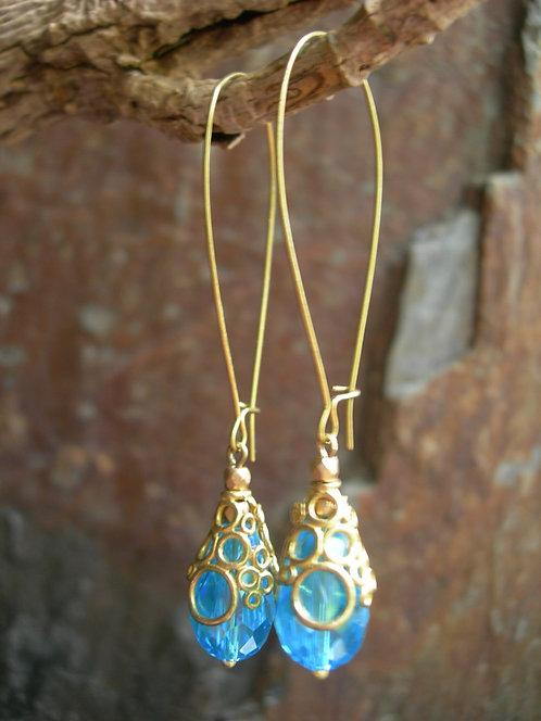 Long Bubbly earrings. Aqua Blue.