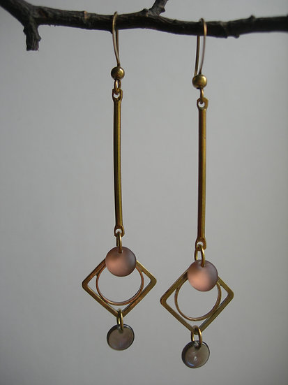 Art Deco style earrings. Bronze and Blue.