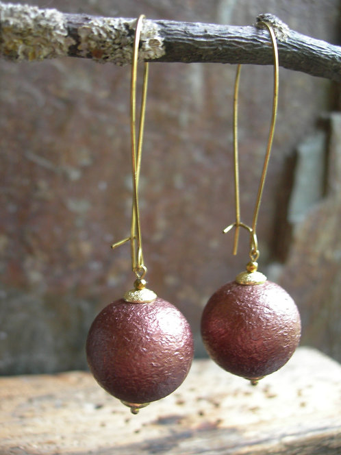 Long Orb earrings. Bronze.