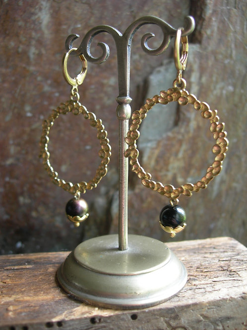 Wreath  earrings. Black with bronze