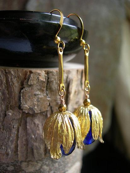 Golden Tulip earrings. Cobalt Blue