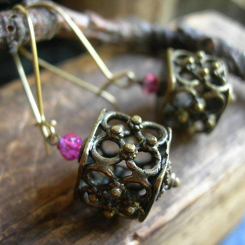 Square Venetian Lantern earrings
