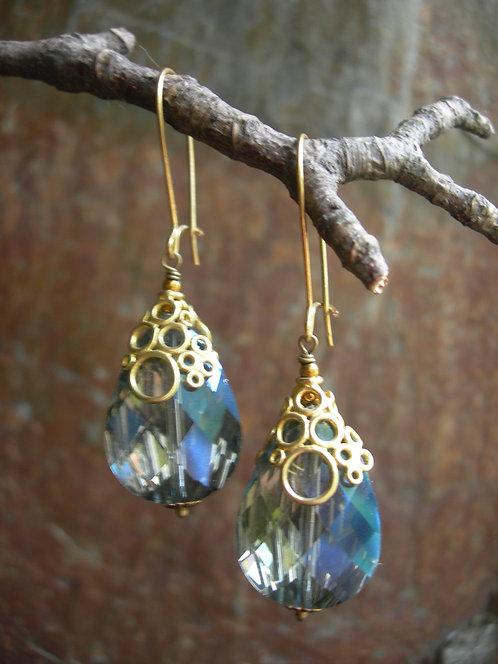 Chunky drop Bubbly earrings. Grey Blue