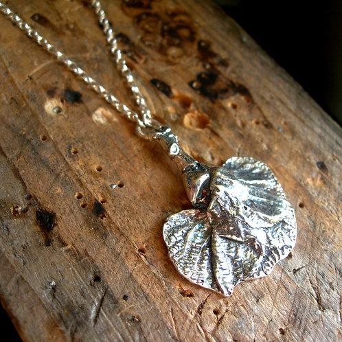 Linden leaves pendant. Sterling silver