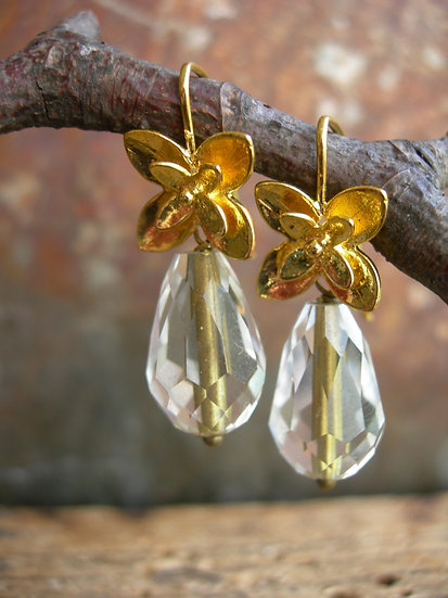 Blossom earrings. Clear with gold line