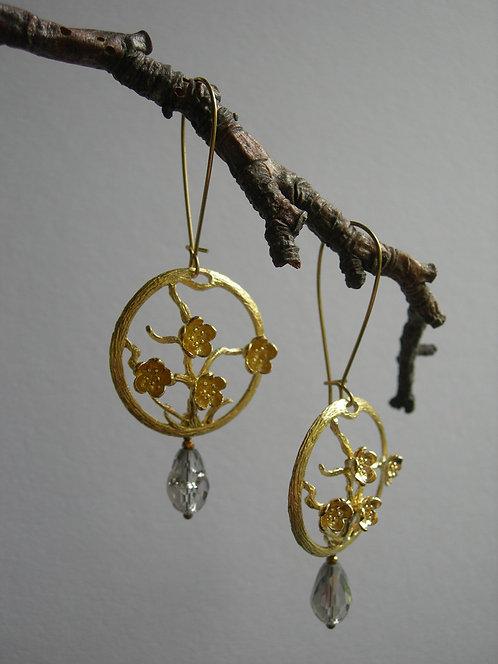 Sakura earrings. Transparent grey