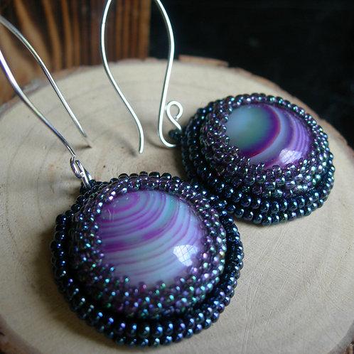 Gem Earrings. Blue and purple