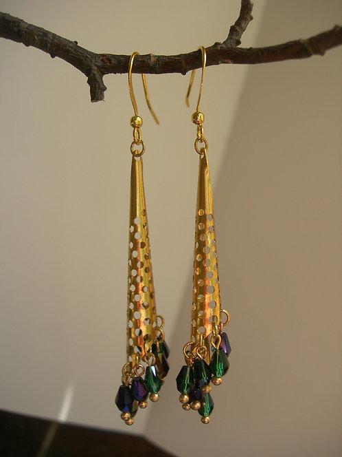 Morning Dew earrings. Green and purple.