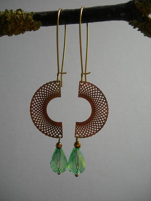 Two Halves earrings. Light green