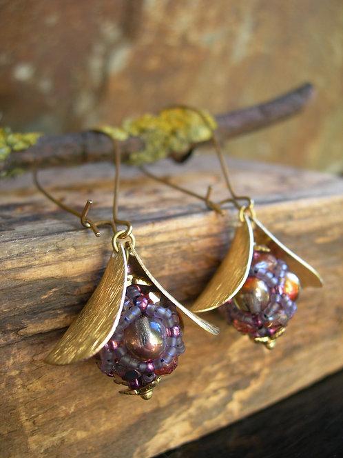 Long Wildberry earrings. Pale purple