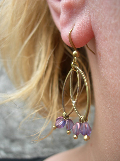 Two Leaves earrings. Purple