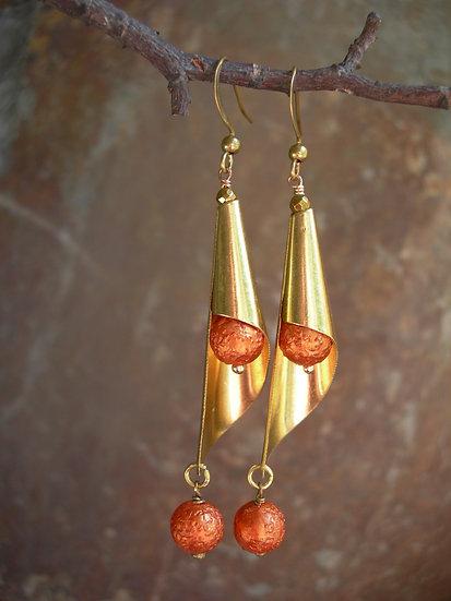 Cone Earrings. Orange