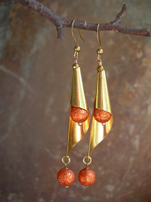 Cone Earrings. Orange