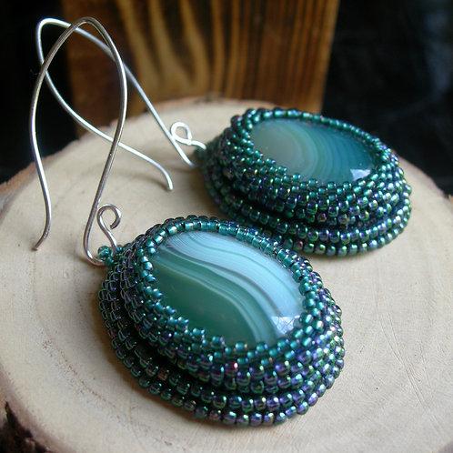 Gem Earrings. Green
