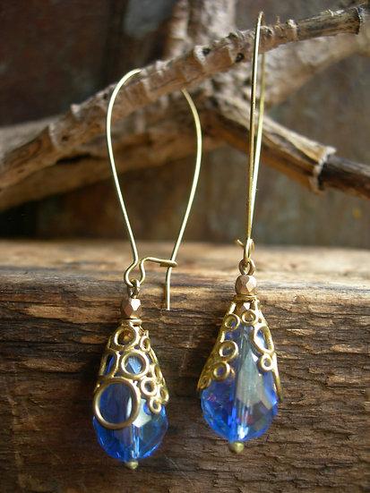 Long Bubbly earrings. Sapphire  Blue
