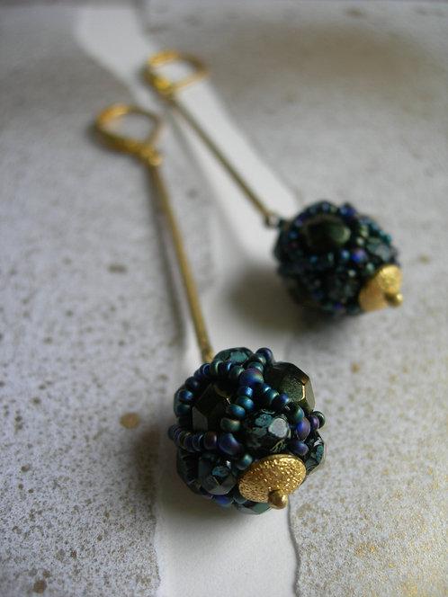 Glass lantern earrings. Dark green