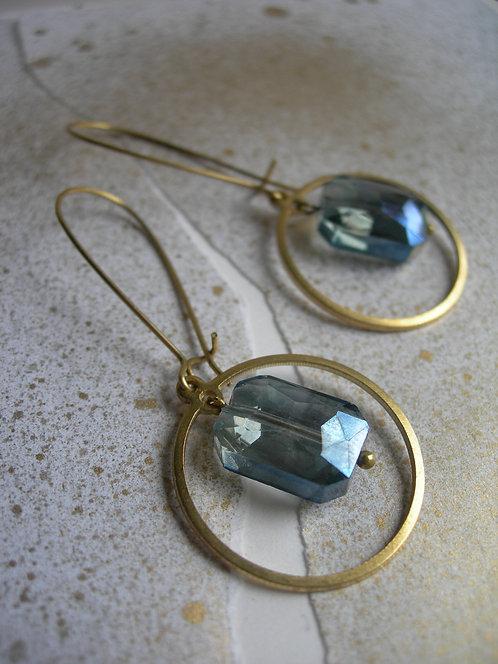 Geometry earrings.Cyan
