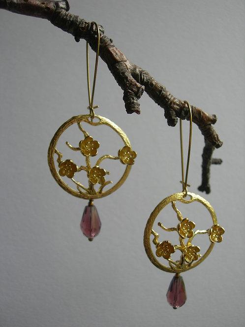 Sakura earrings. Grape