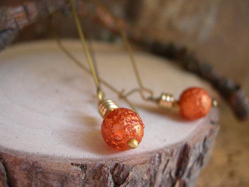 Light bulb earrings. Orange.