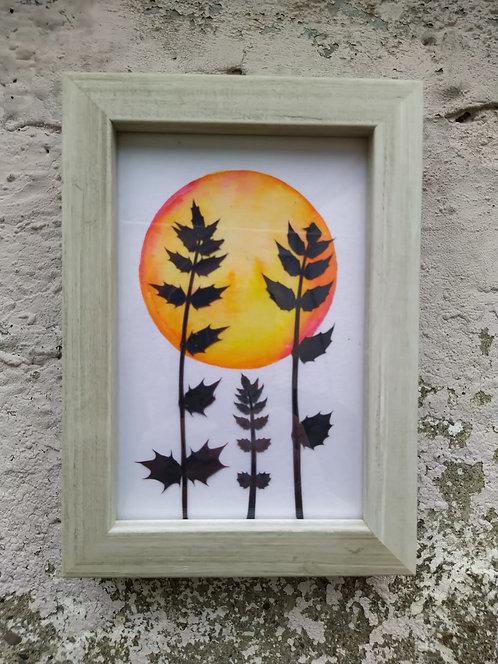 """""""Sunset"""". Framed botanical art"""