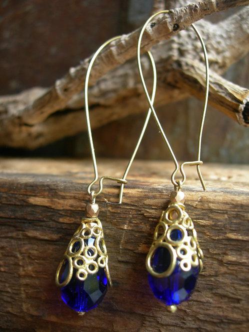 Long Bubbly earrings. Cobalt Blue