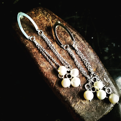 Waterfall. Pearl earrings. Sterling Silve
