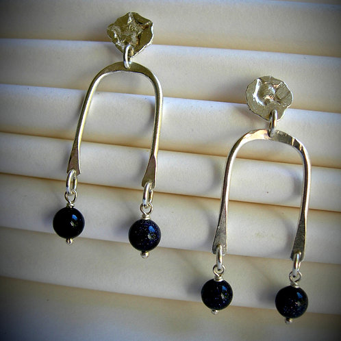 River earrings with Navy aventurine glass. Sterling silver