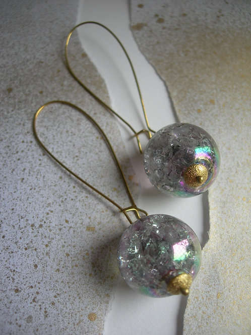 Long Orb earrings. Rainbow.