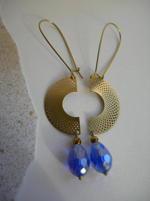 Two Halves earrings. Royal blue