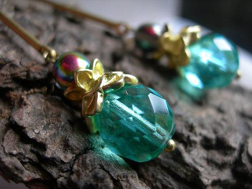 Lotus earrings. Green aqua