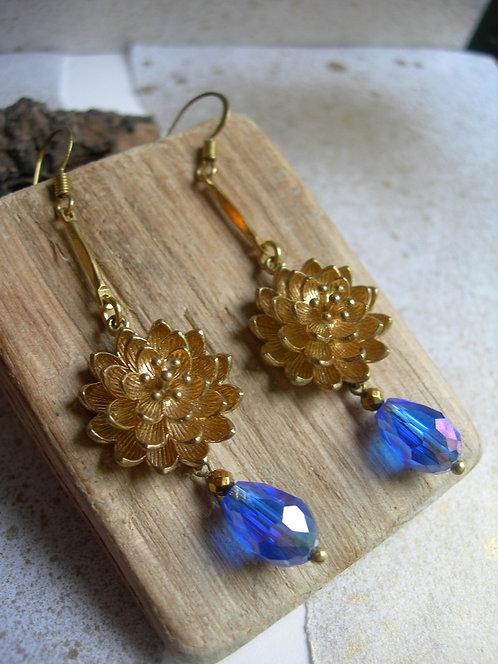 Water lily earrings. Cobalt blue