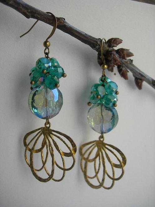 Peacock earrings. Emerald green