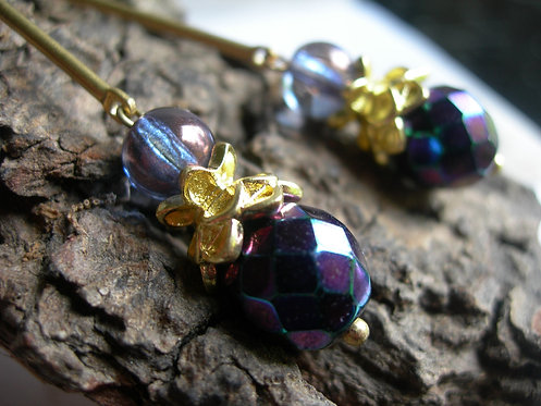 Lotus earrings. Metallic purple