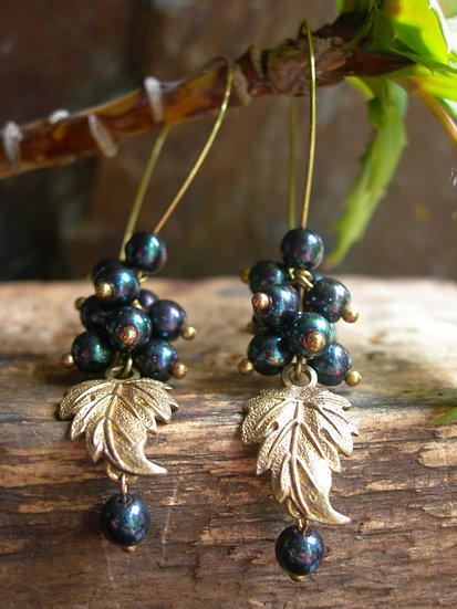 Grapes earrings. Dark Purple Iris