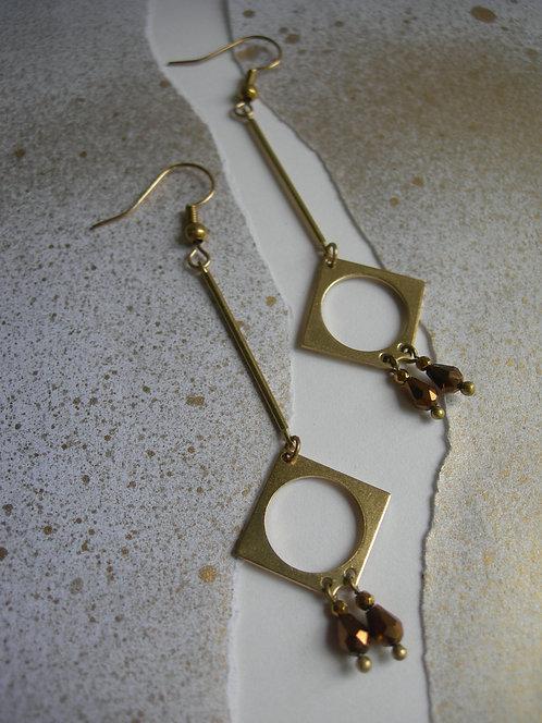 Art Deco style earrings. Bronze