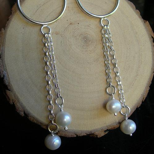 Pearl earrings. Sterling Silver