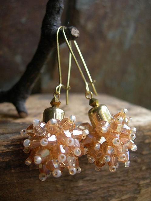Dandelion earrings. Champagne