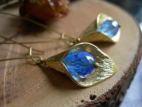 Long Calla Lilly earrings. Sapphire blue