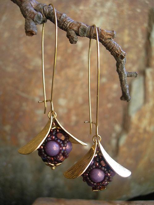 Long Wildberry earrings. Opaque purple