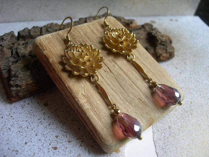 Water lily earrings.Purple