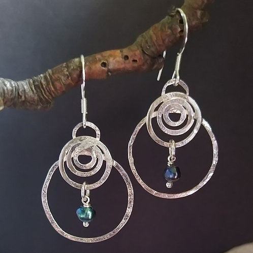 Ripples on the water earrings. Sterling silver