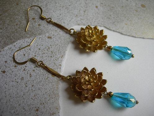 Water lily earrings.Aqua